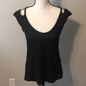 Cold shoulder/Open Back Black Top